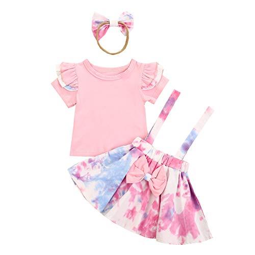 Conjunto de Tirantes para bebé niña Conjunto de Camiseta de Manga Corta...