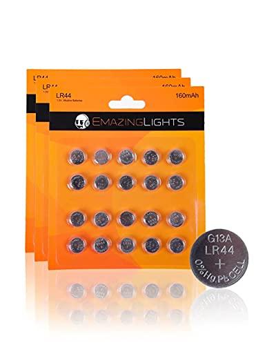 EmazingLights LR44 Batteries 1.5V Alkaline Button Cell AG13 357 303 SR44 Battery (60 Pack)