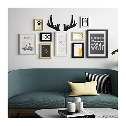 TAO Collage de cadres photo en bois européens de grande taille, cadres muraux 9 Décor de mur de canapé supports photo multiples 48.0 * 24.4in
