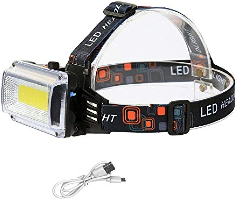 Stirnlampen Usb Power Cob Led Scheinwerfer Scheinwerfer Wiederaufladbare Scheinwerfer Taschenlampe 4-Mode Mit 2000 Mah Batterie
