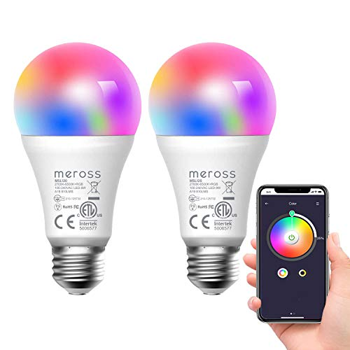 meross Lampadina Wifi Intelligente LED 9W 810LM Dimmerabile Multicolore E27 A19 Smart Light RGBCW Equivalente 60W 2700K-6500K Compatibile con SmartThings, Amazon Alexa, Google Home, IFTTT, 2 pezzi