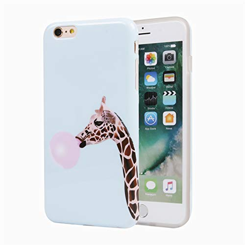 iPhone 6 Phone Case for Girls, Glossy TPU Soft Rubber Silicone Cover Bumper Phone Case for iPhone 6s / iPhone 6 Giraffe Blowing Bubbles