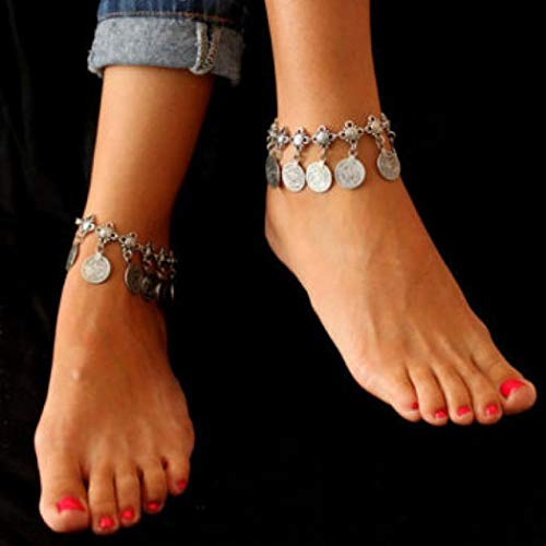 Jovono Silver Boho Coin Tassels Anklets Fashion Anklet Bracelets Beach Foot Jewelry for Women and Girls(1pc)