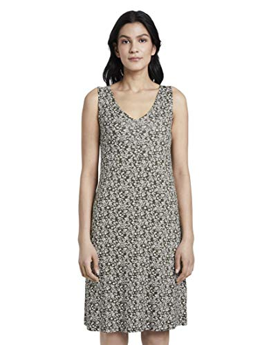 TOM TAILOR Damen Kleider & Jumpsuits Gemustertes Kleid mit V-Ausschnitt Khaki Offwhite floral Design,36
