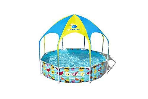 Bestway Steel Pro UV Careful, runder Kinderpool mit Sonnenschutzdach, 244x244x51cm