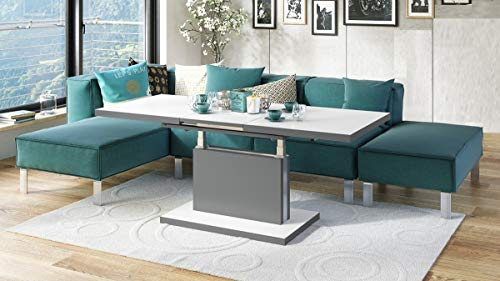 Design Couchtisch Tisch Aston Weiß matt/Grau matt stufenlos höhenverstellbar ausziehbar 120 bis 200cm Esstisch