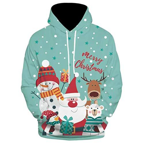 DNOQN Herren 3D Weihnachten O-Neck Sweatshirt mit Kapuze und Langen Ärmeln Bluse Tops GrüN L