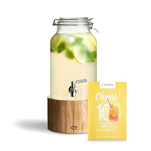 Dispensador de Bebidas con Grifo de Acero Inoxidable GRETA, Dispensador Bebidas Botella vidrio con soporte de Madera Mason Jar Vintage Design