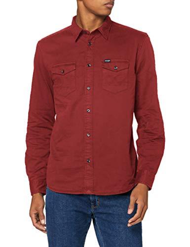 Wrangler LS 2PKT Flap Shirt Camisa, Marrón Oxidado, L para Hombre