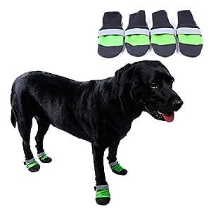Livecity 4pcs étanche pour animal domestique Chien Chaussures antidérapant chaud confortable réfléchissant Bottes