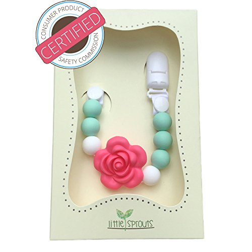 little sprouts 2 in 1 pacifier clip, baby teether, baby shower gift