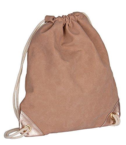 SIX 1 pz. nudo di donna, zaino, borsa beige con manici in corda e dettagli in oro rosa, borsa da palestra, zaino (463 – 251)