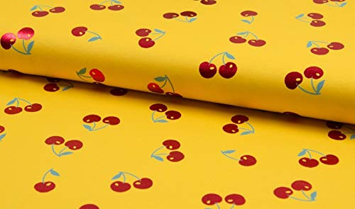 Qualitativ hochwertiger Jersey Stoff mit roten Kirschen auf Gelb mit Metallic Print als Meterware zum Nähen von Baby, Kinder- und Damenkleidung, 50 cm