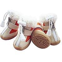 TTCI-RR 犬のブーツ 犬の靴の冬の暖かいスキーブーツペット靴チワワテディ子猫の靴の滑り止めソール4本 犬用靴 (Color : Orange, Size : 4)