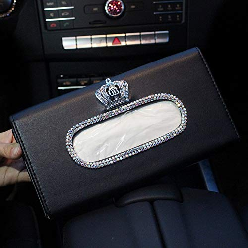 LANKOULI Tissue Box Kristall Auto Tissue Box Sonnenblende Leder Auto Taschentasche Sunvisor Hängende Halter Serviette Für Autozubehör