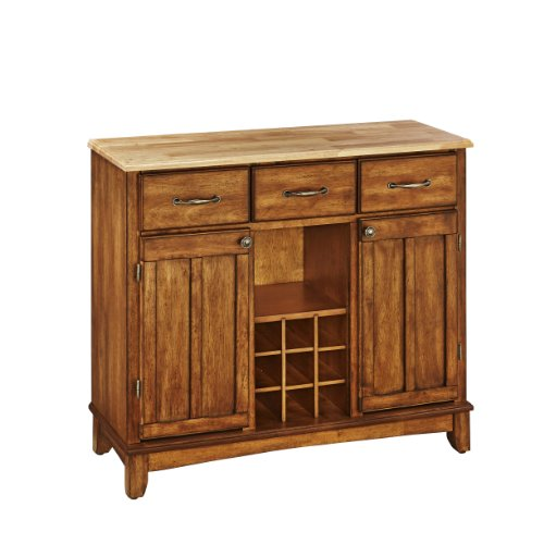 Buffet of Buffets Cottage Oak with Natural Wood Top by Home Styles