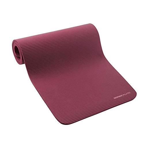 Esterilla de yoga para ejercicio femenino ensanchada y engrosada para principiantes, manta de yoga y yoga alargada, antideslizante para el hogar (color: rojo vino, tamaño: 180 cm x 63 cm x 15 mm)