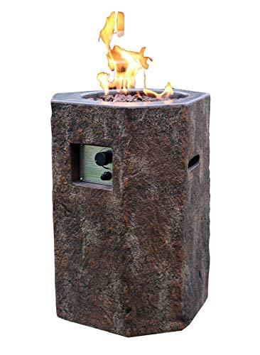 Kaminlicht Gas-Feuerstelle Tambora in Basaloptik aus Faserbeton Garten Terrasse