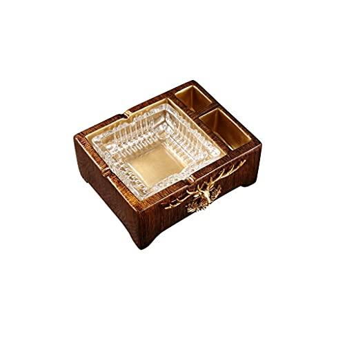 DIWA Cenicero de resina, cenicero de cristal para cigarros para interiores y exteriores, con 3 ranuras para guardar cigarrillos, juego de regalo para hombre