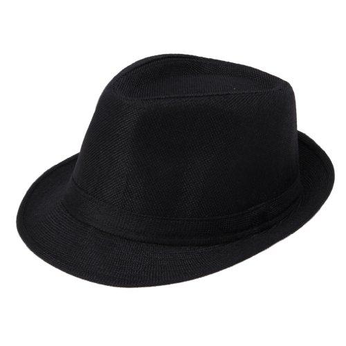 EOZY Chapeau Homme Fedora Panama Trilby Plage Ete Tour 58cm (#5Noir)