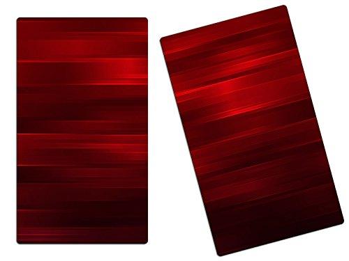 Herdabdeckplatten Schneidebretter Spritzschutz aus Glas 2-teiliges Set HA116267299 Abstrakt Rot Variante 2x Scheiben (2 Panels) für Küche, Grillabende oder Dinner,Abdeckung auch für Ceran-Kochfelder