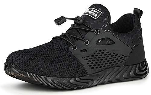 TQGOLD Chaussure de Securité Homme Femmes Chaussures de Travail avec Embout de Protection en Acier Chaussure Taille 35-46(Noir,Taille 42)