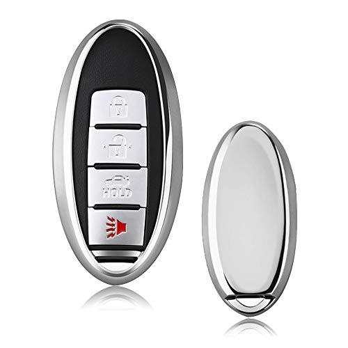 Heart Horse Car Key Cover para Nissan Juke - Funda protectora de silicona TPU suave para Nissan Sylphy X-trail, 370Z, GTR, Patrol, Cima Smart Remote Key Fob (Plata)