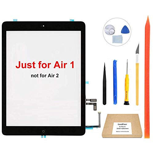 GoodFixer Screen Replacement for iPad Air 1st Generation (Black), with Home Button, Complete Repair Tools Kit, Camera Holder, Pre-Installed Adhesive Stickers [365 Days Warr]