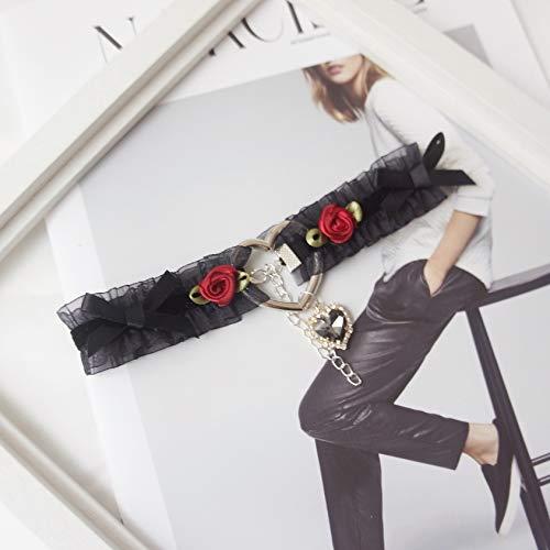 XXYHYQHJD Handgefertigte Vintage Sexy Lace Choker Diamant-gotische Kragen Statement-Halskette for Mädchen Niedliches Kawaii Zubehör (Color : Black Necklace, Size : Kostenlos)