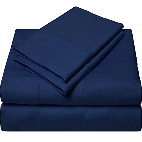 SGI bedding Queen Sheets Luxury Soft 100% Egyptian Cotton -Classic Collection Bed Sheet Set for Queen Mattress Navy Blue Solid 600 Thread Count Deep Pocket