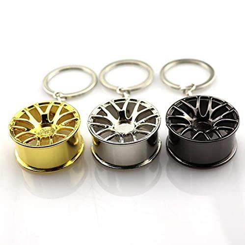 wgkgh 2 STK. Auto Rad Felge Modell Schlüsselanhänger , Mode Metall Schlüsselring , Kreativer Anhänger , Herren Persönlichkeit einfacher Anhänger Silber