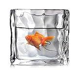 XLSQW Pecera de Hielo Creativa del Acuario del Cubo de Hielo Modelado de envases de Vidrio Goldfish Tabla Cuenco Decoración jardín Decoración del hogar para Oficina Casa habitación, Pequeño