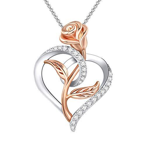 QLEESI Collier Fleur Rose pour Femme - Colliers D'amour en forme de Coeur Pendentif en Or Rose Avec Boîte-cadeau des Bijoux D'Halloween Exquis Comme Cadeau D'anniversaire de la Saint-Valentin