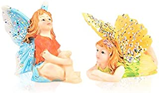 Miniature Fairy Garden 2pc Set - Tiny Sitting Blue Fairy & Flying Laying Flat Yellow Fairy - Made of Resin - Colorful Pixi...