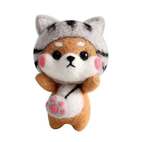 Kit de fieltro de aguja animales Shiba Inu perro conejo, kit de fieltro de aguja de juguete de muñeca hecho a mano para principiantes, kit de fieltro de aguja de lana para niños y adultos