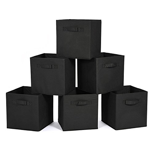 MaidMAX Cloth Storage Bin with Dual Handles for Home Closet Nursery Drawers Organizer, Foldable, Black, 10.5×10.5×11?, Set of 6