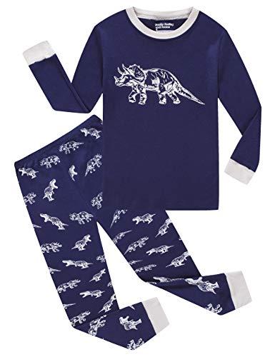 Dinosaur Little Boys Long Sleeve Glow in The Dark Pajamas Sets 100% Cotton Pyjamas Kids Pjs Size 6 Blue