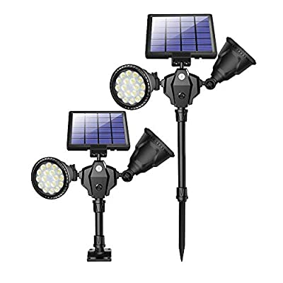 ROSHWEY Solar Spot Lights Outdoor, 1000 Lumens Bright Landscape Light 36 LED Waterproof Wall Lamps with Motion Sensor & 4 Modes for Garden Patio Garage Driveway (Pack of 2, Cool White Light)