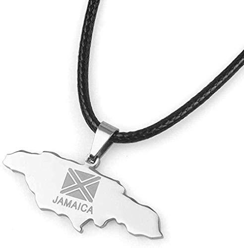 Aluyouqi Co.,ltd Collar Collares Mapa De Jamaica Colgante De Acero Inoxidable Y Joyería De Cuerda Negra Regalos del País De Jamaica