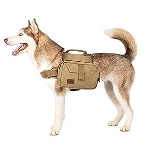 OneTigris Dog Pack Hound Travel Camping Hiking Backpack Saddle Bag Rucksack for Medium & Large Dog (Brown, Large)