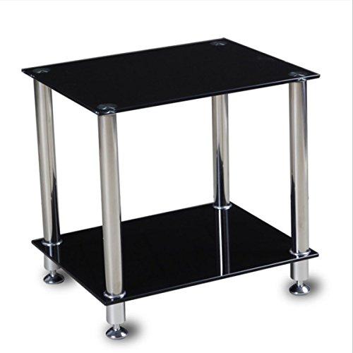 Ripiani in vetro nero tavolino quadrato tavolino divano tavolo gambe in acciaio INOX, con ripiano, 50x 40x 48cm