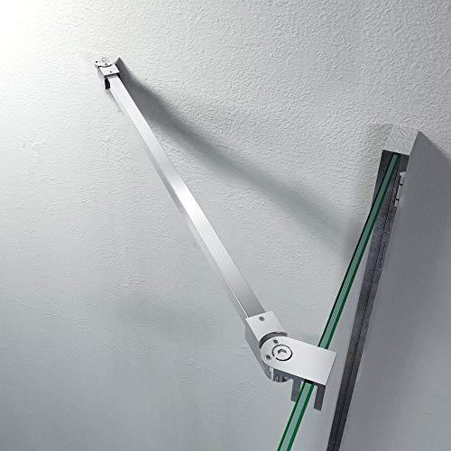 Stabilisator Haltestange 575 mm Edelstahl Winkel flexibel einstellbar Wandmontage für Glasstärken 6-10 mm Duschabtrennung Duschkabine GS13575