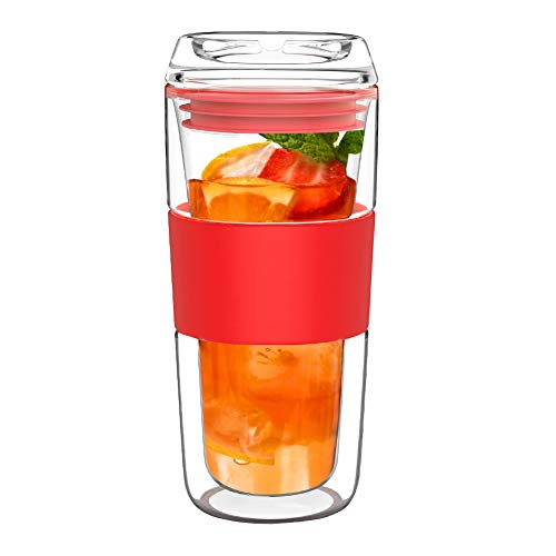 BINE 14OZ Double Wall Insulated Glass Tumbler with Silicone Sleeve and Extra Lid Travel to go Borosilicate Glass Tea Coffee Mug Water Drinking Glass