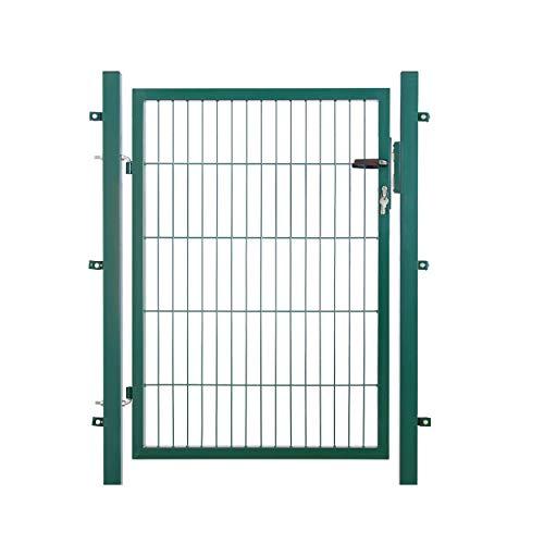 Koll Living Garden Gartentor für Stabmattenzaun, HxB: 100x100 cm, RAL 6005 grün - 200x50 mm Maschung - inkl. 60x40 mm Pfosten & Befestigungsmaterial - Schlüssel in dreifacher Ausführung