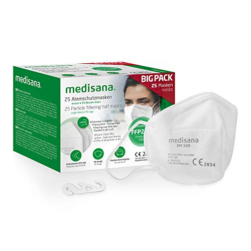 Medisana FFP2 Atemschutzmaske Staubmaske Atemmaske RM 100, Staubschutzmaske Mundschutzmaske 25 Stück einzelverpackt im PE-Beutel mit Clip - zertifiziert CE2834 - EU 2016/425