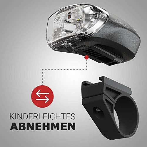 HEITECH StVZO Akku Fahrradlicht Set - Abblendfunktion, Tagfahrlicht, 180 Lumen, 100m Reichweite, regenfest, wiederaufladbar - Fahrrad Beleuchtungsset LED Fahrradbeleuchtung mit Frontlicht & Rücklicht - 7
