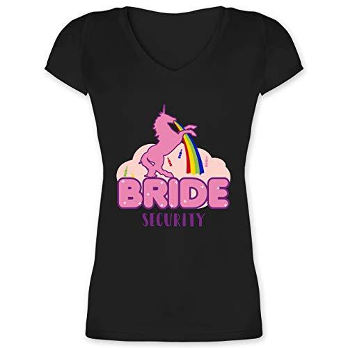 JGA Junggesellinnenabschied - JGA Bride Security Einhorn - XXL - Schwarz - Shirt Bride Security Einhorn - XO1525 - Damen T-Shirt mit V-Ausschnitt