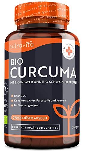 Bio Curcuma mit Schwarzem Pfeffer und Ingwer - 4542mg pro Tagesdosis – 270 Vegane Kurkuma Kapseln – Hergestellt von Nutravita
