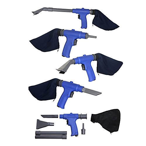 Air Vacuum Blow Gun. Pneumatic Air Suction Blow Gun Kit Includes 6 Specialty Attachments For All Cleaning Jobs. Wet or Dry. Air compressor Accessories by Lematec.