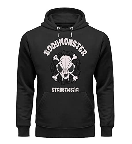 BODYMONSTER Sudadera con capucha Bones Skull – Fun Sport Gym ocio ropa – Sudadera con capucha – Premium para hombre Sudadera con capucha – S M L XL XXL 3XL Negro S